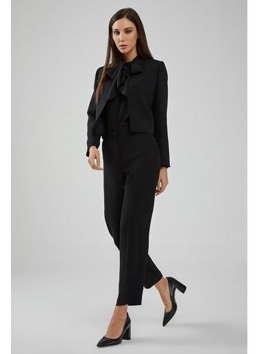 Gusto Kadın Kahve Sıfır Yakalı Klasik Kısa Ceket 20KG009600 Siyah